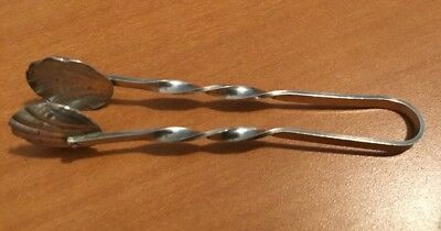 Sterling Silver Sugar Cube Tongs Scallop Shell Design
