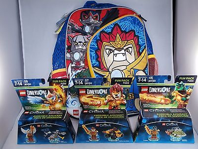 LEGO Chima backpack & 3 Dimensions fun packs Laval Eris Cragger NEW toy+T-shirt