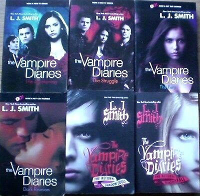 6 x  VAMPIRE DIARIES SERIES: # 1-4 + SHADOW SOULS & NIGHTFALL, VGC Bulk Fantasy