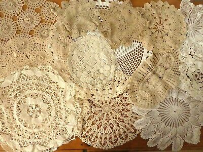 Lot Vintage antique doilies doily crochet handmade lace 19 pcs crafts clothes
