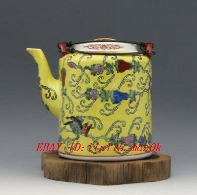 China old Porcelain Hand painting Pastel Flower Butterfly Handle teapot