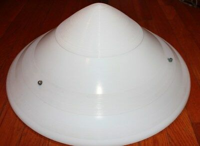LARGE VINTAGE 1930's ART DECO GILL GLASS CO. PENDANT MILK GLASS SHADE 18.5""