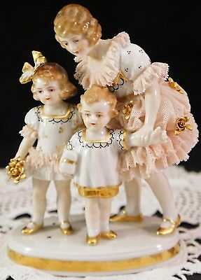 MZ Germany Dresden Lace Figural Group Mother Daughter Son Figurine Gold Trim