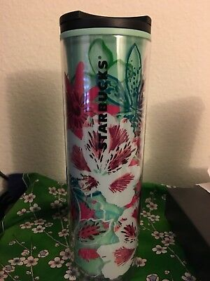 New LIMITED Starbucks 2017 SEAFOAM GREEN FLOWERS cold cup tumbler 16 oz