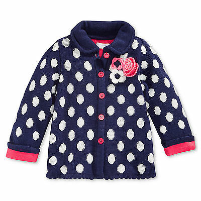 First Impressions 3-6 Months Baby Girl Navy Blue Pink Flower Polka Dot Sweater