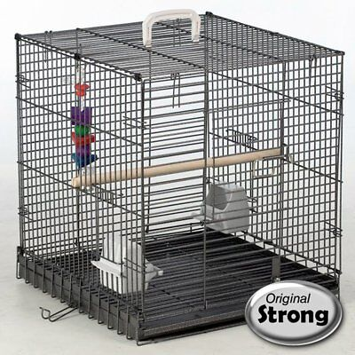 Strong Bird Carrier Metal Finch Cage Budgies Traveller Silverstone Grey 99034