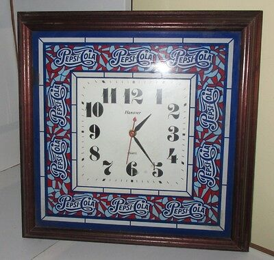 Pepsi Cola Vintage Hanover Wood Glass Framed Wall Clock Nice Non Working RARE