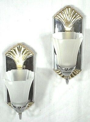 Pair Of Mid Century Modern Glass Shade Chrome Sconces With Brass Shell Crest