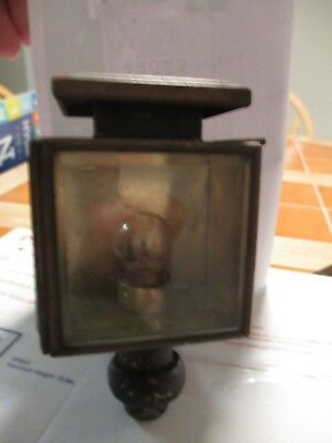 Antique Early Car/truck Pillar Mount Lamp (Wired W/bulb) Nickel & Brass Metal