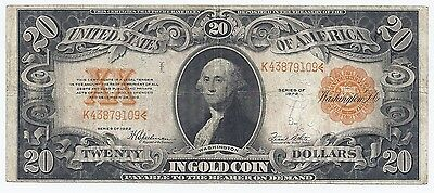 FR. 1187 $20.00 1922 Gold Certificate mid grade circulated