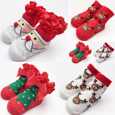 Cute Bady girl Warm Cotton Socks Christmas Style Snowman Snowflake Deer Socks