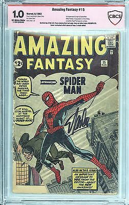 Amazing Fantasy #15 CBCS 1.0 Unrestored Signed By Stan Lee 1st App of Spider-Man