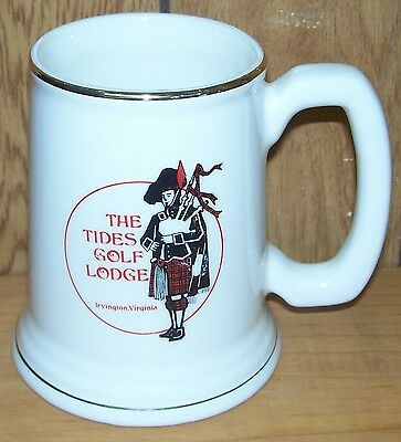 THE TIDES GOLF LODGE ~ VINTAGE MUG ~ McCOY (?) ~ IRVINGTON, VIRGINIA  ~ 1970's