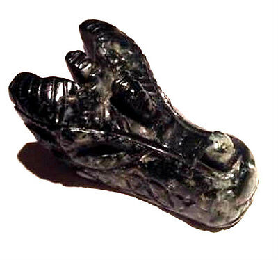 X1 Genuine Natural Moss Agate Hand Carved Crystal Dragon Skull 225g