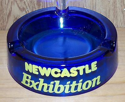 Newcastle Exhibition Ashtray ~ Cobalt Blue ~ Vintage ~ Tri Label ~ Round