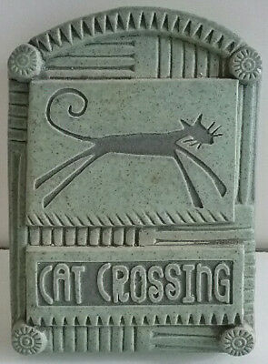 Cat Crossing Sign Wall Plaque Funky Green By the Potter's Shed M. Macone Southwe