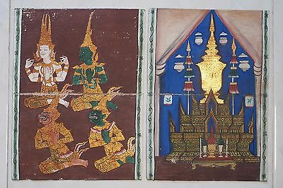 Set Antique Thailand Manuscript Painting from the 19th Century on book  a02