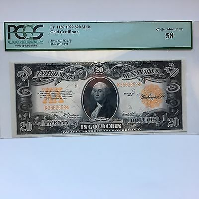 Gold Certificate Fr. 1187 1922 $20 Mule PCGS Choice About New 58