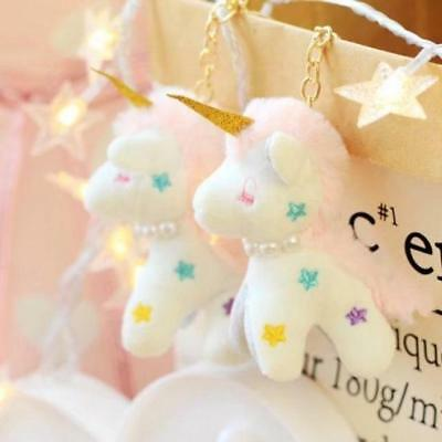 Christmas Gift Unicorn Star Plush Keychain Key Ring Embroidery Girl Gift 9cm
