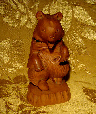 Vintage Ussr Wood Carved *singing Bear* Figurine