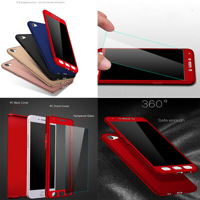 Fr OPPO R15 F1s A73 A57 AX5 Full Protector Case PC+Glass Screen Protector Cover