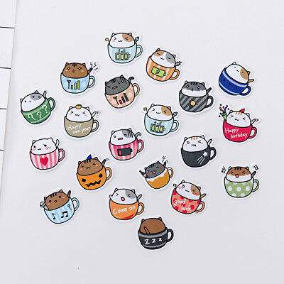 Lovely Cat Coffee Cup Scrapbook Calendar Diary Planner Card Photo Letter Sticker