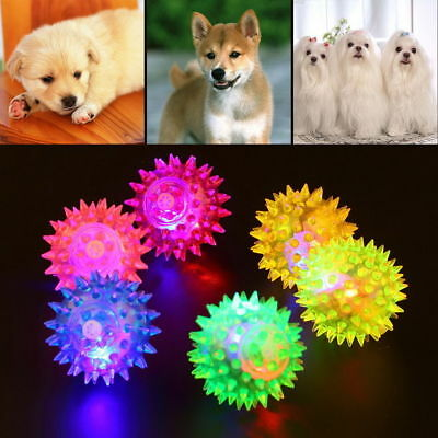 Dog Puppy Cat Pet Led Light Squeaky Squeaker Chew Sound Ball Toy Toys