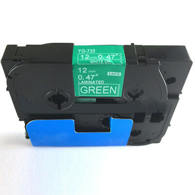 Compatible for Brother P-Touch Laminated Tze Tz Label Tape 12mm White on Green