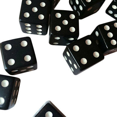 10pcs Dice Dices Plastic Gaming Standard Six Sided Die Black With White Pips