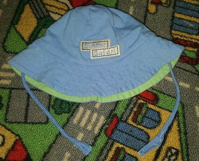 BABY BOYS Sz 000 - 00 Blue & Green Reversible Hat CUTE! COOL! CHIN STRAP!