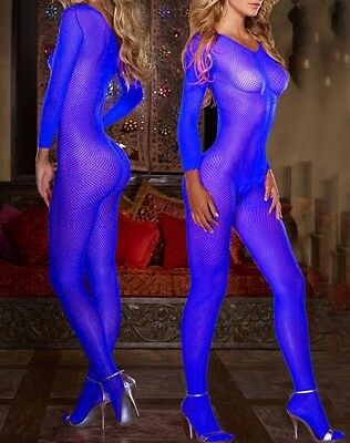 AB21 One Size Blue Nylon Spandex Body Stocking, Body Suit One Size Fits Most