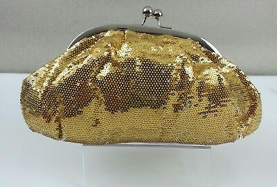 J Francis Women's Gold Sequin Evening Wedding Formal Party Clutch Bag