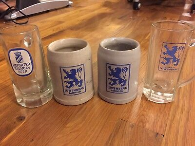 VINTAGE LOWENBRAU MUNCHEN Beer Mug Glass STEINs Antique collection Germany 4 pc