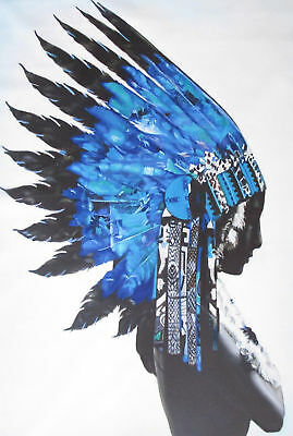 street PRINT INDIAN BLUE FEATHER NATIVE AMERICAN art painting Drawing Photo Wall