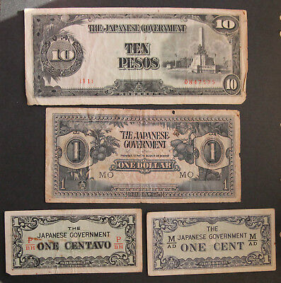 Japanese Government Occupation war money ten pesos, one dollar, one cent