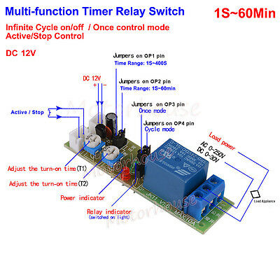 DC 12V Adjustable 0~60min Cycle Loop Delay Timer Time Relay Switch ON OFF Module