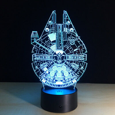Visual 3D lamp Millennium Falcon night light led colorful gift for kids child