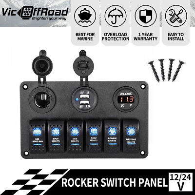 6 Gang 12V 24V Rocker Switch Panel LED Breaker Voltmeter for ATV Marine JEEP Wat