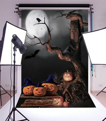 Vinyl 5x7ft Halloween Night Theme Background Old Tree Photography Backdrop Props