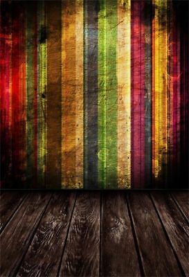 Retro Vinyl Photography Background 5x7ft Colorful Wood Wall Photo Backdrop Props