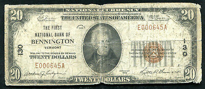 1929 $20 The First Nb Of Bennington, Vt National Currency Ch. #130