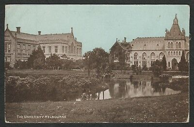 e430)          OLD POSTCARD FROM VICTORIA - THE UNIVERSITY MELBOURNE AUSTRALIA