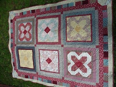 Handmade patchwork quilt - warm and soft double bed, wool batting