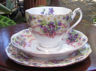 Stunning Vintage Queen Anne Bone China Trio Sweet Violets