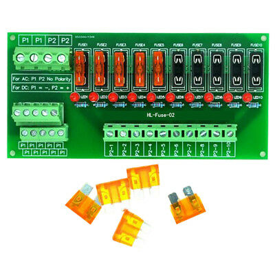 10 Position Power Distribution Fuse Module Board, For AC/DC 5~32V
