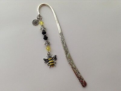 Silver Plated Enamel Bee Sunflower Charm Bees Spacers Bicone Beads Bookmark