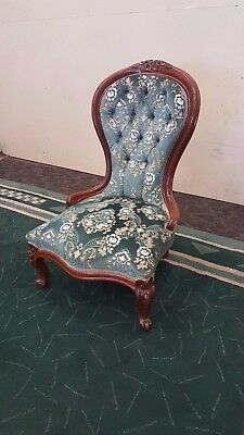 Victorian Lady's Chair Button Back Wood Framed Chair Blue Soft Fabric + Pattten