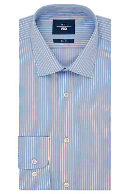 Moss 1851 Mens Sky Blue Formal Shirt Slim Fit Twill Stripe Easy Iron Cotton