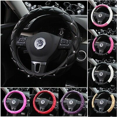 Universal Car Steering Wheel Cover Cases Protector Leather Crystal Interior