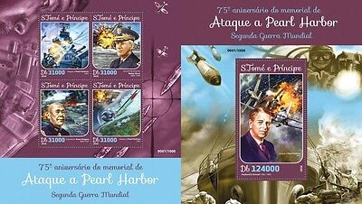 Z08 Imperforated ST16109ab Sao Tome and Principe 2016 Pearl Harbor MNH Set